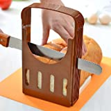 DETUOSI 食パンカットガイド パン切りガイド 折り畳み式デザイン 食パン スライサー (ブラウン)