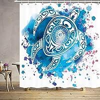 水彩タートルシャワーカーテン、ブルートーテム海の動物海の装飾子供ポリエステル生地ファブリックシャワーカーテン浴室カーテンアクセサリーフック付き69X 165X180 CM