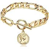 FAMARINE Charm Bracelets for Women 4MM, Gold Chain Cuban Link Mens Bracelet for Teen Girls Friendship Bracelets Gift Toggle C