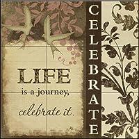 """セラミックタイル壁画–Celebrate–by Jennifer Pugh–キッチンBacksplash/バスルームシャワー 9 Tile Mural on 4 1/4"""" Tile 15-2067-1212-4C"""
