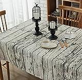 S&D テーブルクロス 木目柄 140x200 cm 綿麻 北欧 田园風 吸水 速乾 テーブルカバー 撮影の背景 長方形