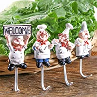 WSOMIGO 4pc / setクッカーデザインキッチンプラグホルダーガジェット強力なフックキッチンアクセサリー野菜&フルーツフックアップキッチンツール:絵として