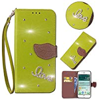 ZTE Blade V9 Card Holder Case, ZTE Blade V9 Wallet Case Slim, ZTE Blade V9 Folio Leather case cover Shockproof Case with Credit Card Slot, Durable Protective Case for ZTE Blade V9 (Green)