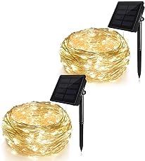 KEYNICE ソーラー イルミネーションライト ソーラーライト 屋外 ハロウィン装飾 ガーデンライト 200LED 全長20M 電球間隔10cm クリスマス 学園祭 LED飾りライト 8パターン点灯モード IP65防水 ウオームホワイト