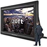 20 Feet Inflatable Outdoor and Indoor Theater Projector Screen - Includes Inflation Fan, Tie-Downs and Storage Bag - Only Sup