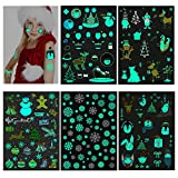 Konsait Christmas Glow in the Dark Tattoos(150pcs) Kids Luminous Christmas Holiday Cartoon Temporary Tattoo Stickers for Boys Girls Stockings Stuffers Goody Filler for Xmas Party Favor Supplies
