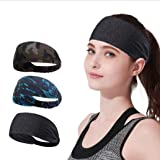YOMYM 3 Pack Headbands Sports Sweat Band Hairband for Men Women Running, Basketball, Soccer, Tennis, Cycling, Cardio, Gym Exe