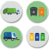 MAGJUCHE Garbage Trash Truck Party Candy Stickers, Boy Birthday Party Supplies, Sticker Labels for Favors, Decorations, Fit H