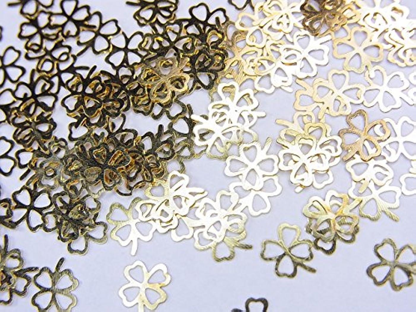 作り億キルト【jewel】薄型ゴールドレジンパーツ クローバーB 10個