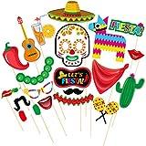 LUoem Mexicanフィエスタ写真ブース小道具キット20ピースフィエスタ写真ブース小道具パーティーデコレーションfor夏パーティ誕生日、結婚、トロピカル、祭