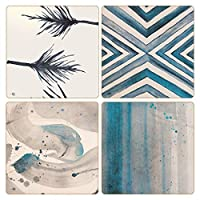 "CoasterStone AS10176""Square Rainfall"" Absorbent Coasters (Set of 4), 10cm - 0.6cm, Multicolor"