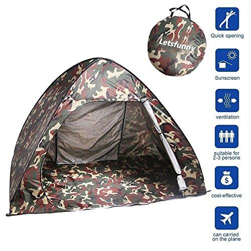 Lets Funny 3-4人用ドームテント/簡易テントワンタッチサンシェードレジャー・海水浴・砂浜・中庭・遠足・防災・ピクニック向け UVカード 多機能性テント キャンピングテント(キャンプ/クライミングなどの場合に適用) (迷彩)