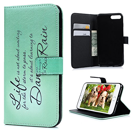 iPhone7 Plus(5.5インチ)用対応ケース おしゃれ YOKIRINR 英文 手帳型 横開き PUレザー カード収納ポケット スタンド機能 アイフォン7 プラス 携帯スマホカバー 耐衝撃 保護