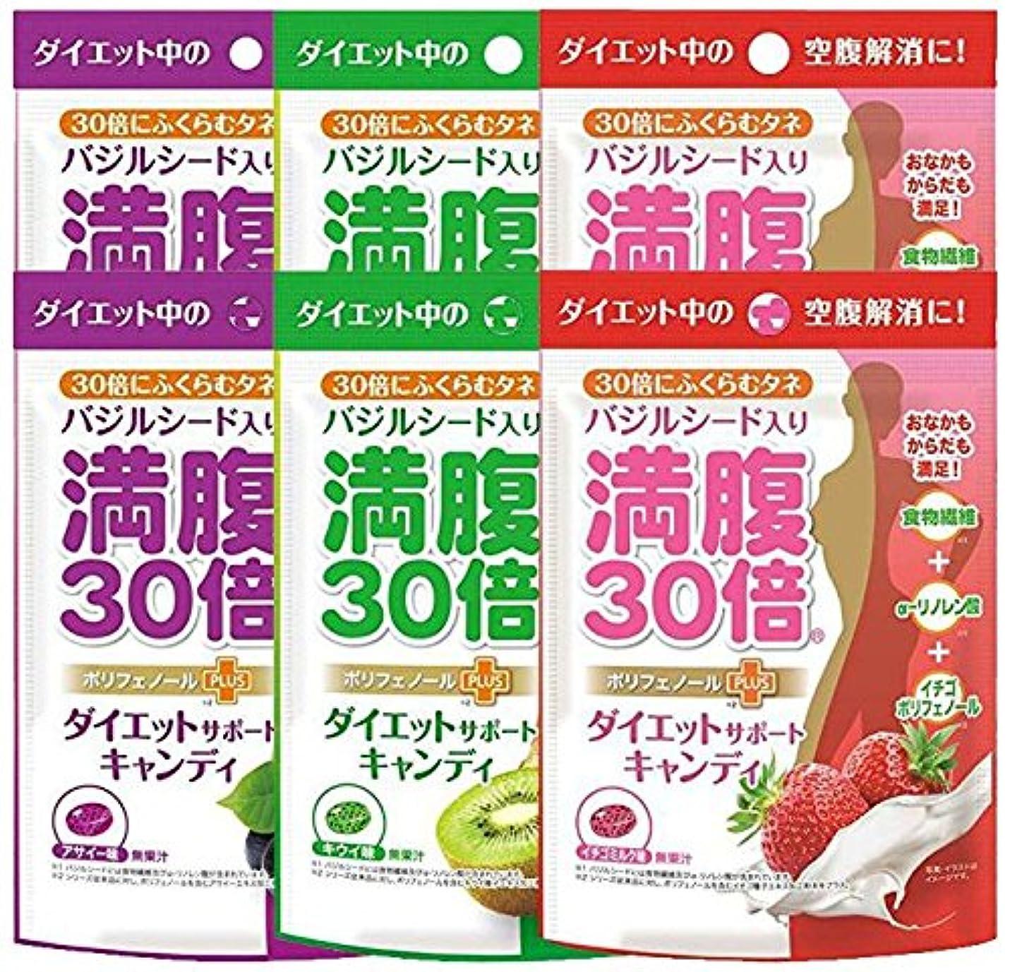ご予約固める予定満腹30倍 ダイエットサポートキャンディ 3種アソート( アサイー キウイ イチゴミルク 各2袋) 6袋