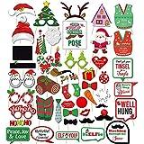 Amycute クリスマス飾り フォトプロップス 写真 撮影小道具 結婚式 木製紙 47枚セット 製変装 パーティー 披露宴 結婚式 誕生日パーティー