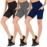 FULLSOFT Workout Shorts for Women High Waist Biker Yoga Running Exercise Non See-Through Shorts Leggings with Side Pockets