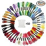 Whonline 刺しゅう糸セット 50束 50色 半透明白い糸巻き板50枚付き カラーが豊富で綺麗な刺繍系 編み物・クロスステッチ・ミサンガ