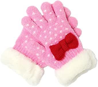 ふわふわモコモコあったかリボンキッズ手袋 ピンク F