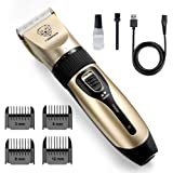 rabbitgoo Dog Grooming Clippers, Rechargeable Pet Hair Trimmer Set, Professional Electric Shaver Hair Remover Kit with 4 Guid