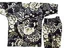 【金彩牡丹と桜 黒】 義若オリジナル子供鯉口シャツ上下セット (2号(100サイズ))