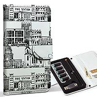 スマコレ ploom TECH プルームテック 専用 レザーケース 手帳型 タバコ ケース カバー 合皮 ケース カバー 収納 プルームケース デザイン 革 ユニーク イラスト 建物 模様 白黒 008488