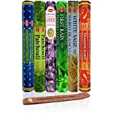 Six Most Popular Hem Incense Scents with Free Burner - Each of Dragon's Blood, Frankincense & Myrrh, Patchouli, Precious Lave