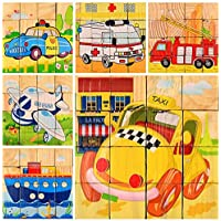 Deerbird® 16個の木製キューブブロックジグソーパズルパズル 警察車、救急車、船、消防車、航空機、タクシー 啓蒙玩具 ビルディングブロックは、幼児の少年と少女の想像力と創造性を刺激する