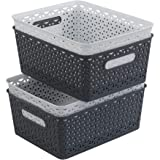 Ponpong 8 Litre Plastic Woven Storage Basket, White and Deep Grey, 4 Packs