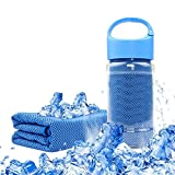 SANLANDOR ブルー 冷感クールスポーツタオル 持ち運ぶ便利(ケース付き!) 運動,水泳,ヨガ,登山,旅行に最適