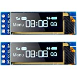 MakerFocus 2pcs I2C OLED Display Module 0.91 Inch I2C SSD1306 OLED Display Module Blue I2C OLED Screen Driver DC 3.3V~5V for