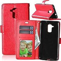 JINXIUJP 携帯電話ケース、 ソリッドカラープレミアム pu レザー折財布磁気バックルデザインフリップフォリオ保護ケースカバーカードスロット Huawei Honor 5C/Honor 7 lite/Huawei Gt3 (色 : 赤)