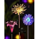 BRIGHT ZEAL [Set of 3] LED Color Changing Solar Stake Lights Outdoor (Dandelion, Lily, Sunflower) - Solar Light LED Garden De