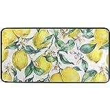Kitchen Rug Floor Mat Washable - Branch Fresh Citrus Yellow Fruit Lemon Kitchen Mats for Floor Anti Fatigue Cushion Comfort M
