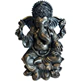 "RK Collections 6"" Lord Ganesh Statue/Ganesha Statue in Elegant Matt Black and a Touch of Brushed Bronze Finish. Premium Statu"