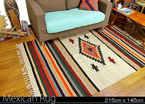 RUG&PIECE ネイティブ柄 メキシカンラグマット 215cm×145cm