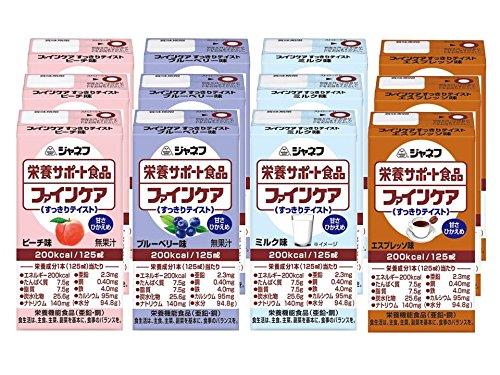 ジャネフ ファインケア すっきりテイストバラエティセット 4種12本入 (ピーチ3本、ブルーベリー3本、ミルク3本、エスプレッソ3本)