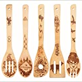 Wooden Spoons, Wooden Spoons for Cooking with 3D Embossing and Engraved Patterns, Great Kitchen Gifts for Mother's Day, Hallo