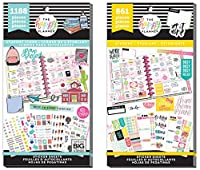 Mambi Happy Planner Student Back toスクール – 学生アイコンと学生Get It Done – 2アイテムステッカー値パックバンドル