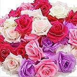 (アクテール)AQ-Terre バラ の 造花 花 部分のみ 直径 約 8センチ 50個セット 手芸 ハンドメイド 写真撮影 (50個・プリンセスカラー)