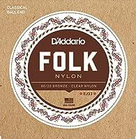 D'Addario ダダリオ ボールエンドナイロン弦 Folk Nylon EJ33 80/20 Bronze/Clear Nylon Trebles 【国内正規品】