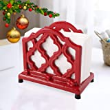 Vintage Metal Napkin Holder Red Cast Iron Napkin Holder Organizer for Kitchen Restaurant Home Decor