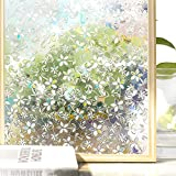 (90 200CM, Flower Pattern) - Homein 3D Window Film Privacy Decorative Glass Sticker Self Adhesive Rainbow Effect Flower Pattern 90 x 200 CM Opaque Frosting Vinyl Cover Obsure Cling Door Blind for Bedroom Kitchen Office Decoration