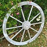 天然木製 車輪トレリス アンティークホワイト 直径80cm×厚さ35mm アンティーク調仕上げ WT-80WHT