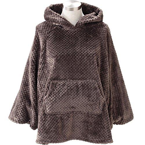 着る毛布 ルームウェア フード付き 長袖 静電気防止加工 蓄熱効果 洗える 着丈67cm ブラウン FRRP-01