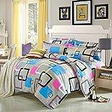 uxcell 寝具カバーセット 羊毛 枕ケース キルト カバー ベッドセット カラフル 四角形パターン ダブル/クィーン マシンで洗濯可能