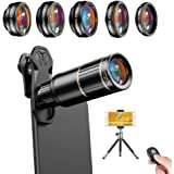 Apexel Cell Phone Camera Lens Kit -Remote Shutter+ Phone Tripod+ 6 in 1 Phone Lens -Metal 16X Telephoto Zoom Lens/Wide Angle/
