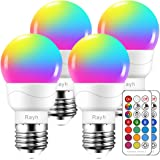 Color Changing Light Bulb, RGB LED Light Bulbs with Remote, 4 Pack 3.00W, 110.00V