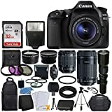Canon EOS 80D DSLR Camera Body + Canon EF-S 18-55mm + Canon EF-S 55-250mm Lens & Telephoto 500mm f/8.0 (Long) + Wide Angle Lens + 58mm 2x Lens + Macro Filter Kit + 32GB Memory Card + Accessory Bundle [並行輸入品]