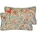 Mika Home Pack of 2 Oblong Rectangular Throw Pillow Cover Cushion Cases Sofa Couch Chair,Paisley Pattern,12x20 Inches,Red Tea