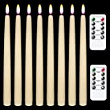 Wondise Flameless Window Taper Candles Flickering with Remote Timer, 11 Inch Battery Operated 3D Black Wick Wax Covered LED S